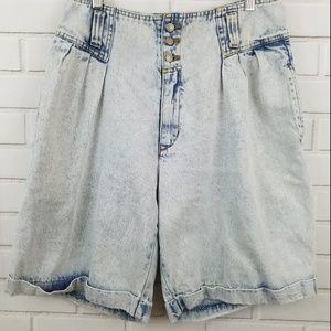 VTG Jordache High Waisted Acid Wash Shorts Size 14